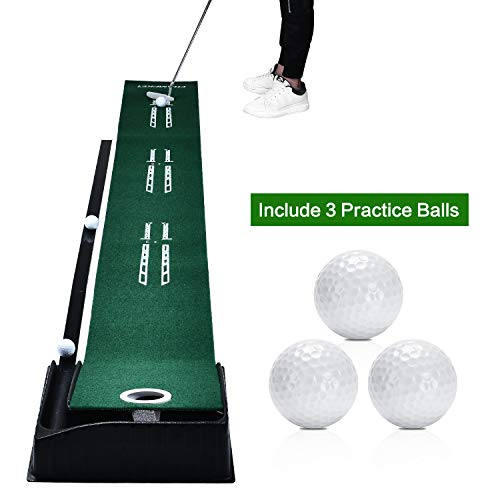 Champkey Golf Putting Mat Come with 3 Golf Balls- Portable Mat with Auto Ball Return Function Mini Golf Practice Training Aid, Game and Gift for Home, Office, Outdoor Use