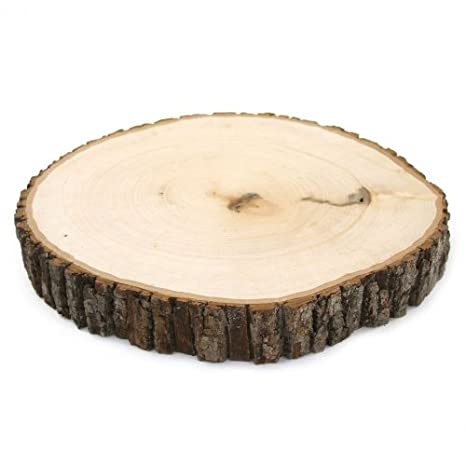 Koyal Wholesale Reversible Wood Slab Thick Tree Slice With Bark Floral Centerpiece 9 To 10 Inch