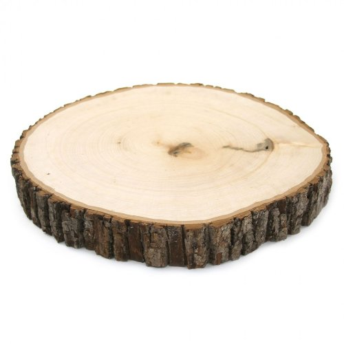 Koyal Wholesale Reversible Wood Slab Thick Tree Slice with Bark Floral Centerpiece, 9 To 10-Inch