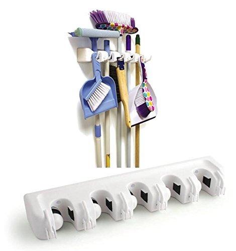 5 posiciones y 6 ganchos, organizador de pared con 5 posiciones, 6 ganchos, ideal para guardar escobas y escobas Simplehouse Organizador de escobas y fregonas