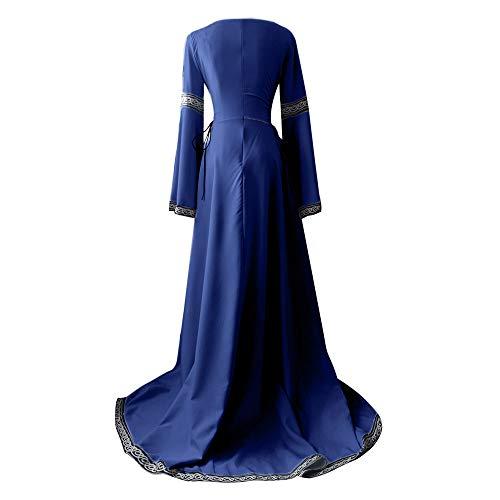 Invierno Forma Faldas Medieval Vestidos De En Zolimx Mujer Maxi Mujer Larga Irregular Manga Vestido Cosplay Azul Renacimiento xZrZ8Uw