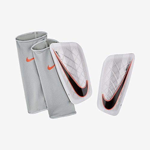 Nike Mercurial Lite Soccer Shin Guards, White/Hyper Orange, Size Medium
