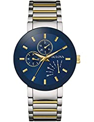 Bulova Mens Quartz Stainless Steel Dress Watch, Color:Two Tone (Model: 98C123)