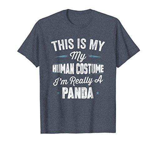 Mens This Is My Human Costume I'm Really A Panda T Shirt 3XL Heather (Cute Panda Halloween Makeup)
