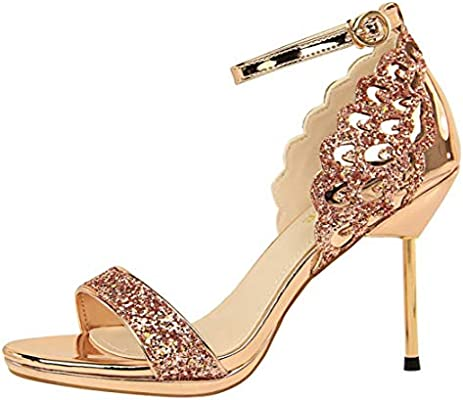 9ab47c3847 Amazon.com : Shiney Fashion Nightclub High Heel Women's Shoes Stiletto Heels  Waterproof Platform Sequins Sandals, Champagne-34 : Sports & Outdoors