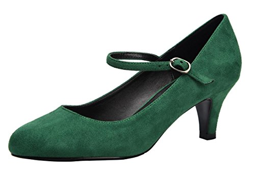 Womens Green Mid Heel - CAMSSOO Women's Closed Toe Low Mid Heel Ankle Strap Dress Pump Shoes Green Velveteen Size US9 EU42
