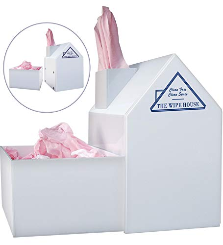 Hygienic Tissue Cover with Detachable Bin for Used Tissues. White House Acrylic Tissue Box Cover. Facial Tissue Holder with Lid. Paintable Drawable Tissue Paper Cover. 5-Year Warranty by The Wipe House