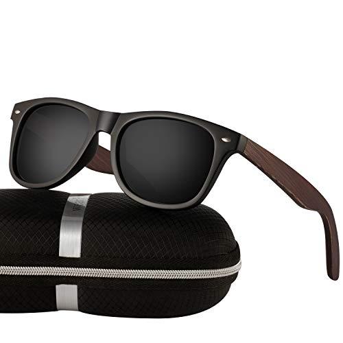Polarized Wood Sunglasses for Men and Women -wearPro Wood Sunglasses UV400 for Traveling with Polarized Lenses(Wmatteb-nail)