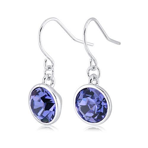 UPSERA Purple Blue Drop Dangle Earrings for Women Girls Crystals from Swarovski Silver Tone Plated Earrings Jewelry