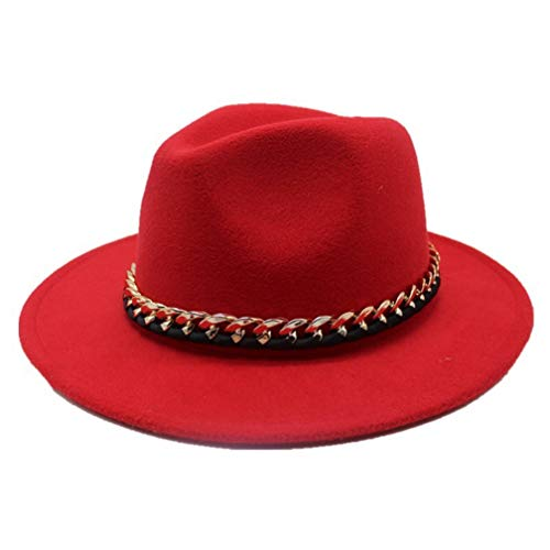 Fashion Wool Pork Pie Boater Jazz Top Hat for Women's Men's Felt Wide Brim Fedora Gambler Hats Red