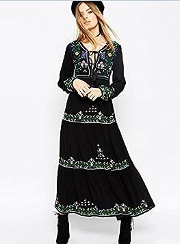 SONGQINGCHENG Vestido Negro Bordado Floral Vestido Boho O Borla De ...