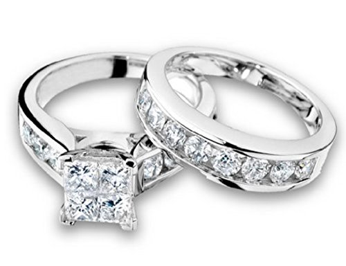 (Midwest Jewellery 10K White Gold Bridal Set 1/2cttw Princess Cut Diamonds 2pc Set (i2/i3, i/j))