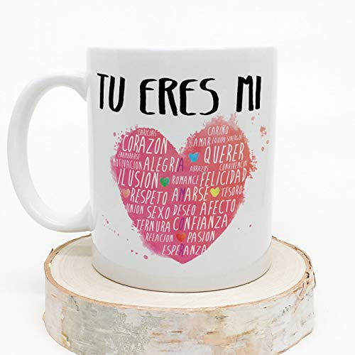 MUGFFINS-Taza-para-Regalar-a-EnamoradosSan-Valentin-Tu-Eres-mi-corazon-ceramica-350-ml-Tazas-con-Frases-de-Regalo-para-NoviosNovias-Anive