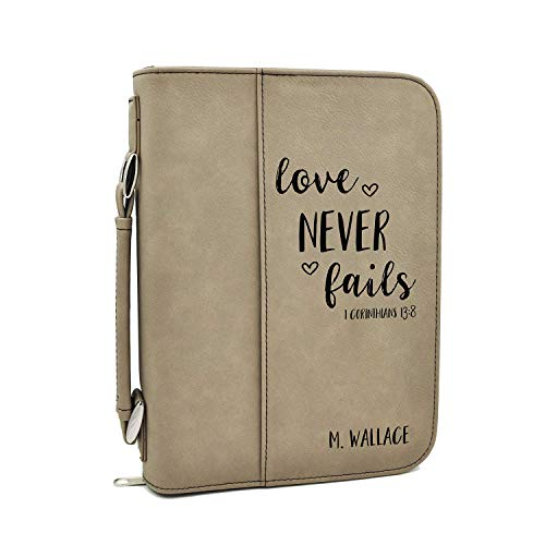 Custom Bible Cover | Love Never Fails|Personalized Bible Cover (Tan)