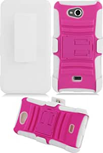 3-in-1 Duo Armor Case and Holster for LG Spirit 4G - White/Hot Pink (Package include a HandHelditems Sketch Stylus Pen)
