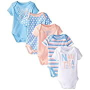 Nautica Baby-Girls Newborn 5 Pack Peachy Bodysuit, Assorted, 6-9 Months