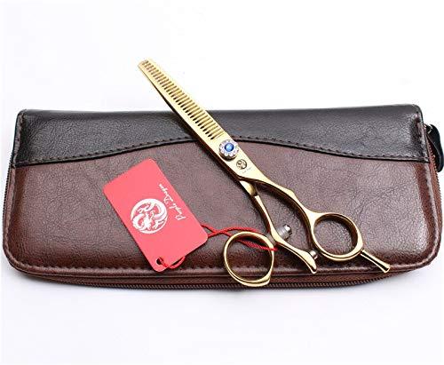 (1 piece Z9019 6 17.5cm 440C Purple Dragon Gold Rotated Handle Cutting Scissors Thinning Shears Trimmmer Hairdresser's Scissors Add Bag)