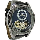 Elgin FG7080B Men's Round Analog Automatic Dark Blue Gun Metal Tone Watch