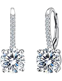 925 Sterling Silver Round Cut CZ Prong Setting Gorgeous Leverback Dangle Earrings Clear