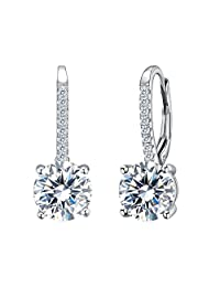 EVER FAITH 925 Sterling Silver Round Cut CZ Prong Setting Gorgeous Leverback Dangle Earrings Clear