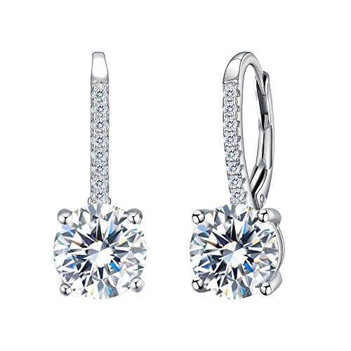 Silver Leverback Cubic Zirconia Earrings - EVER FAITH 925 Sterling Silver Round Cut CZ Prong Setting Gorgeous Leverback Dangle Earrings Clear