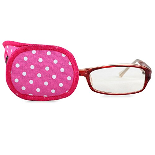 Plinrise Pure Cotton Amblyopia Eye Patch For Glasses,Treat Lazy Eye,Amblyopia And Strabismus,Eye Patch For Children,Regular Size(Rose Red Dot)