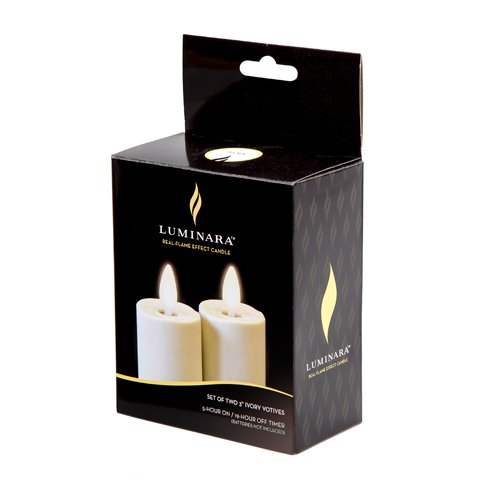 Set of 2 Luminara Votive Flameless Candles:  1.75''x3'' Ivory Unscented Moving Flame Candles with Timer