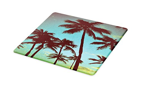 Lunarable Vintage Hawaii Cutting Board, Scenes from Tropical World Palm Trees with Open Sky Photography Dreamy, Decorative Tempered Glass Cutting and Serving Board, Large Size, Blue Green Black by Lunarable