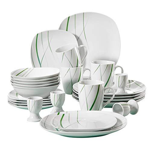 (VEWEET 20-Piece Porcelain Dinnerware Set Green Stripe Patterns Plate and Bowl Set, Service for 4 Dinner Plate, Salad Plate, Bowl Set (Aviva Series))