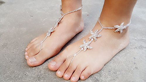 01e1e28d515454 Fine Lady Sparkly Wedding Barefoot Sandals Crystal Bridal Bridemaid Foot  Jewelry Starfish Beaded Anklet Stunning Vacation