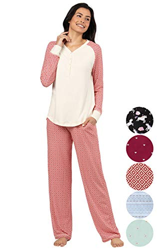 Addison Meadow Womens Pajamas Cotton - PJ Sets for Women, Red Print, S, 4-6