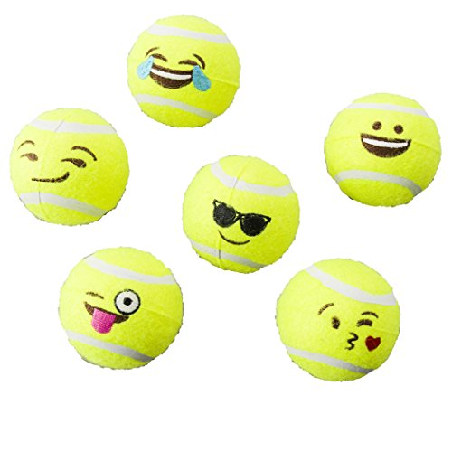 - Ethical Pets Emoji Tennis Ball Dog Toy (6 Pack)