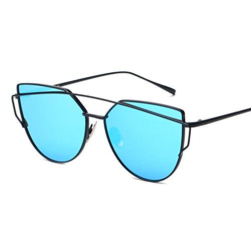 Vivian & Vincent Premiun Oversized Cat Eye UV Protection Sunglasses Eyewear Black Frame Blue - Cat Express Sunglasses Eye