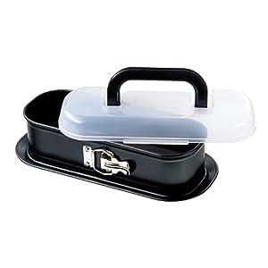 Kaiser Bake&Take - Moldes para Bizcochos Rectangular con Tapa para Transportar, 30 x 11 Centímetros