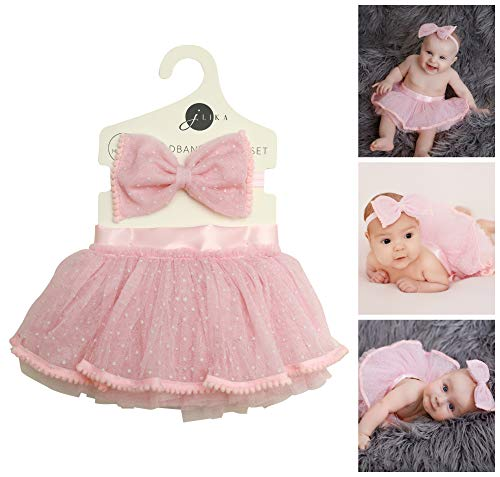 Newborn Baby Girl Tutu Set Skirt with Headband Photography Prop Clothes Easter Outfit (Pink) -