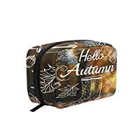 MAHU Autumn Pine Nuts Leaves Rain Boots, Makeup Bag Travel Cosmetic Bag Women Toiletry Brushes Pouch Storage Bag Zipper Organizer Square Portable Holder Tool Case