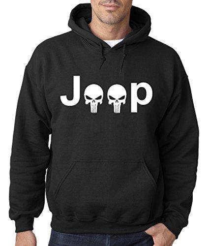 New Way 606 - Hoodie JEEP PUNISHER LOGO SKULLS Unisex Pullover Sweatshirt Large Black