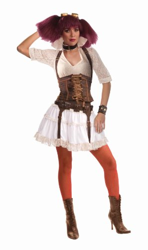 Woman's Steampunk Sally Costume, Brown/White, One Size -