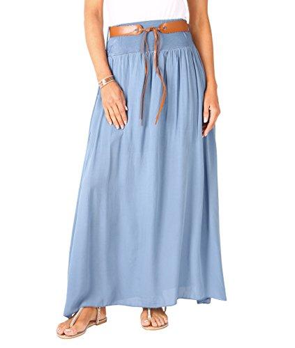 (Krisp 4809-DNM-SM: Tie Belted Boho Maxi Skirt Denim)