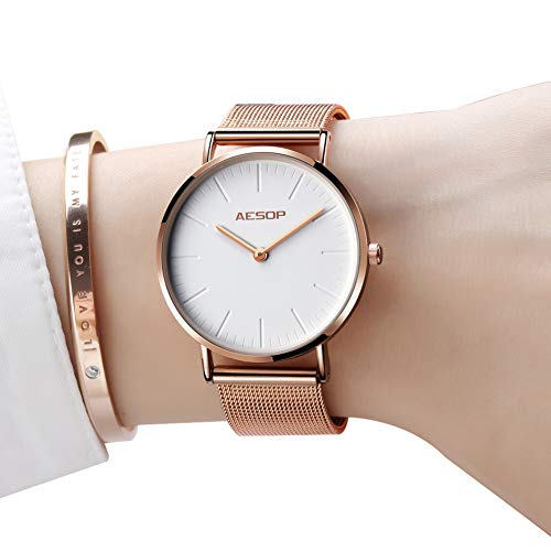 Womens Watches Thin Brand Quartz Wristwatches for Women Waterproof Watch Analog Minimalist Watch Mesh Strap Slim Watches White Dial,Rose Gold Milanese Band Wrist watches (Chain Gold Wrist Watch)
