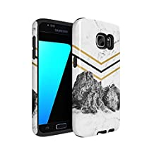Rocky Mountains On White Cracked Marble Hard Plastic Shell & TPU Bumper Double Layer Tough Phone Case For Samsung Galaxy S7