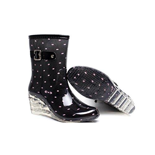 Cremallera de Zapatos Alto Botas de Lluvia Patrón Tacón Damas Con Rosa Agua Botas Negro Punto las de Wellies de de Botines LvRao Mujeres Yw0qdff