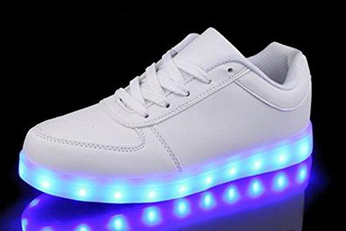 (Present:kleines Handtuch)JUNGLEST Versand aus DE - Retwin LED Sneaker Farbwechsel Unisex Dam Weiß 2