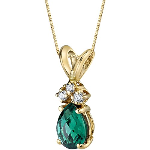 14 Karat Yellow Gold Pear Shape 0.50 Carats Created Emerald Diamond Pendant