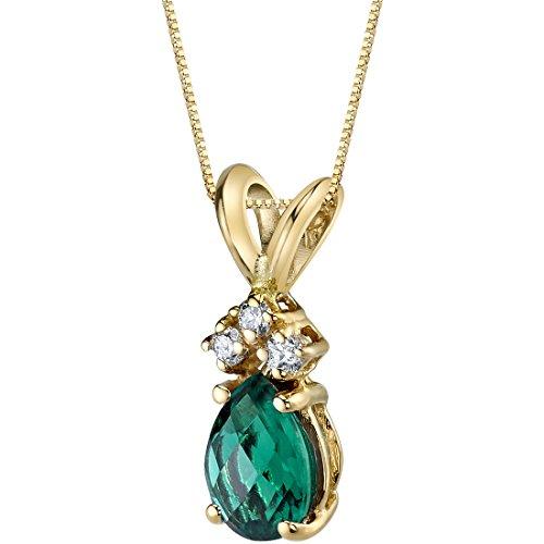 0.5 Ct Diamond Green - 14 Karat Yellow Gold Pear Shape 0.50 Carats Created Emerald Diamond Pendant