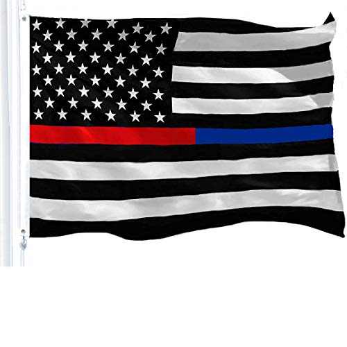 G128 – Thin Blue Line Thin Red Line Flag 150D Polyester 3×5 FT Printed US Flag Brass Grommets Black White Red US Flag