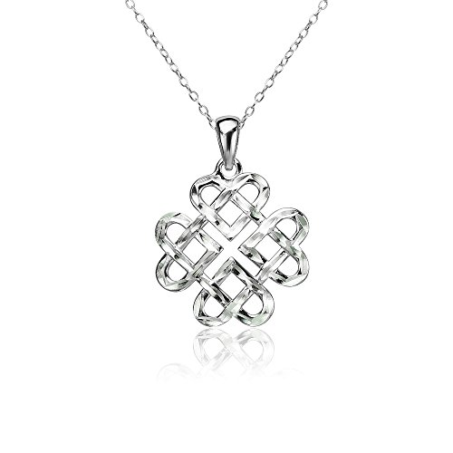 Sterling Silver Diamond-cut Irish Celtic Heart Love Knot Necklace ()