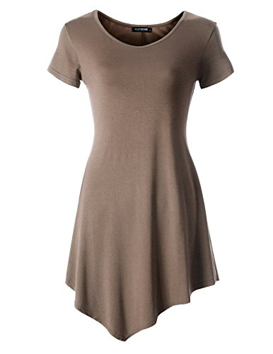 FLATSEVEN Womens Scoop Neck Tunic Tops with Short Sleeve (Made in USA) (WTURSCX101) Brown, - Usa Shop In