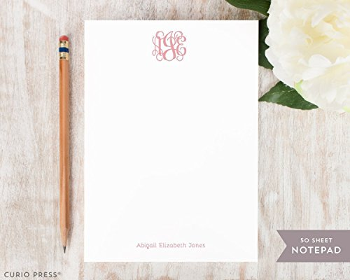 VINE MONOGRAM NOTEPAD - Personalized Stationery Pad - Traditional Monogrammed Simple Womens Girls Baby Family Note Cards, Custom Stationary, Notecards and (Personalized Custom Stationery Stationary)