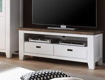 Expendio Lowboard Barnelund 140x55x45 Cm Akazie Weiß Tv Möbel Tv